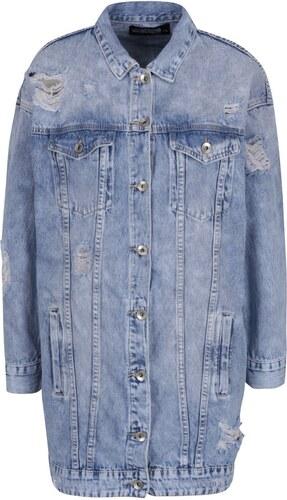 52031f05e074 Modrá dlouhá džínová bunda s potrhaným efektem Haily´s Sinaly - Glami.cz