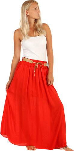 408ae16a4c40 YooY Dámská romantická maxi sukně s kapsami (červená
