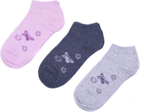 Emi Ross Kotníkové bavlněné ponožky s motýlky 3 páry 35-38 - Glami.cz 9054053578