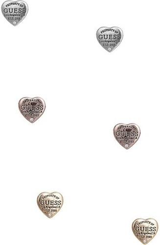 fec3fcb29 GUESS náušnice Tri-Tone Logo Heart Stud Earrings Set - Glami.cz