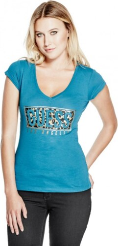GUESS tričko Ember Wild Logo Tee tyrkysové  8fd1e078696
