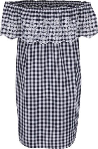 Bielo-modré kockované šaty s volánom a madeirou Dorothy Perkins ... 9980d429474