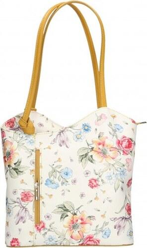 387188251f ... Kožená luxusní květinová bílá se žlutou crossbody kabelka Royal flower  VERA PELLE 26010