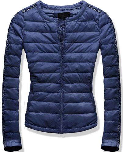 Dámská prošívaná bunda s krajkou - modrá Velikost  L - Glami.cz b54e735e52c
