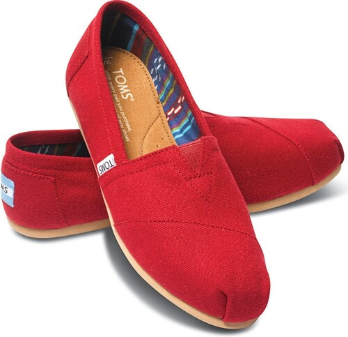 a93be03b2bb TOMS Dámské červené Slip-On Red Canvas Core Classics Alpargatas ...