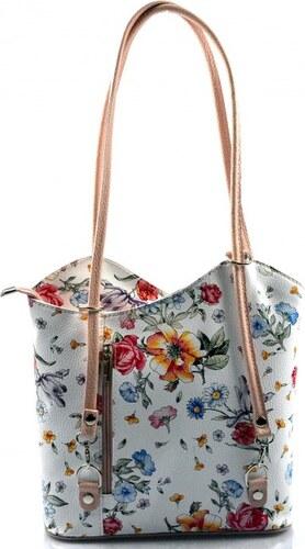 a12e7d41a5 ... Kožená luxusní květinová s růžovou crossbody kabelka Royal flower VERA  PELLE 26004