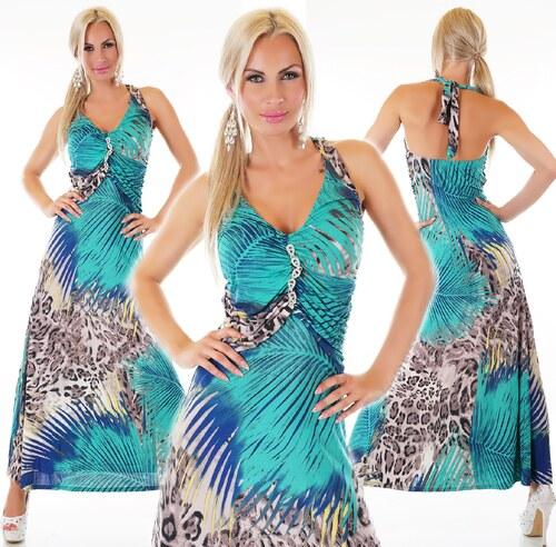 QUEEN O.F. Letní vzorované dlouhé šaty se štrasem ST136 - Glami.cz 8bf196a56b