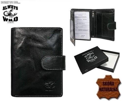 bdc4d8ef98 ALWAYS WILD Praktická čierna kožená pánska peňaženka so zapínaním ...