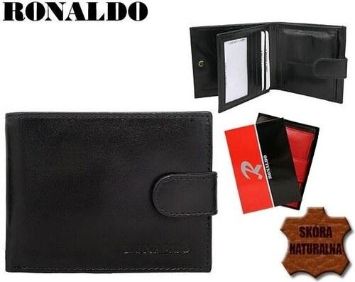 63ce40e18 RONALDO Menšia pánska čierna peňaženka z pravej kože - Glami.sk
