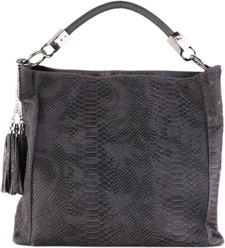 TALIANSKE Kožená kabelka veľká na plece a do ruky Talianska sivá Alessa 9f0db48b143