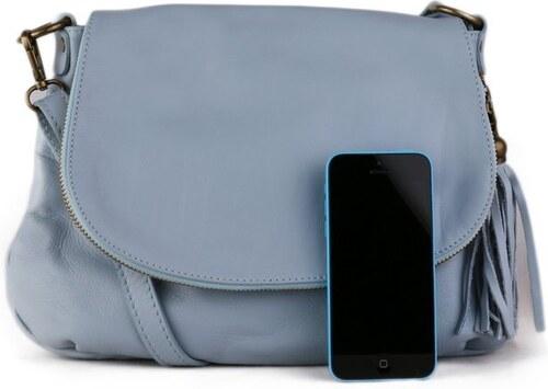 TALIANSKE Talianska kožené kabelky crossbody Talianska jemne modrá Angela b042ce95166