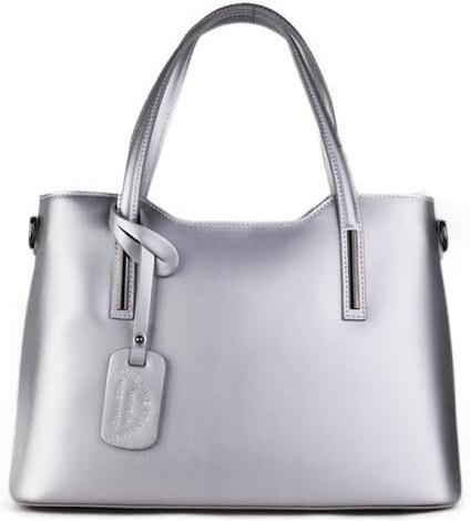 af78e44db6 Talianske kožené kabelky luxusné na rameno Carina strieborné - Glami.sk
