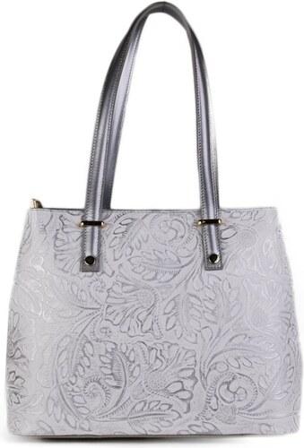 TALIANSKE Kožená kabelka cez rameno Talianska bielostrieborná Velia ... 755ac72ee48