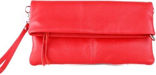 816c987dbd TALIANSKE Kožená kabelka do ruky Talianska Vera pelle červená Violeta