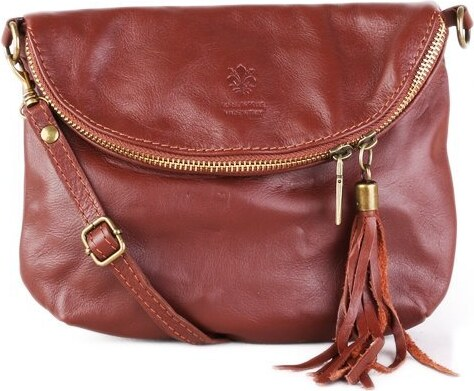 TALIANSKE Talianska malá kožená kabelka cez plece hnedá Zeta 826c3ce6b58