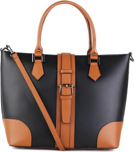 ITALSKÉ Kožená kabelka do ruky Italská černá s kamel Vinci - Glami.cz b878dd3601a