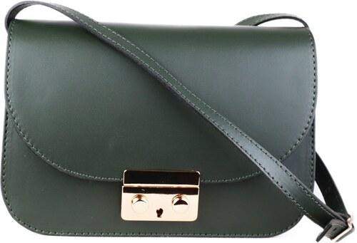 TALIANSKE Kožená kabelka luxusná Talianska tmavozelená Jasmina ... 47f586458e9