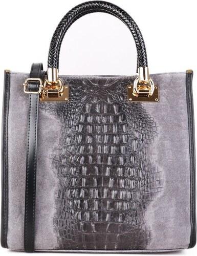 TALIANSKE Kožená kabelka luxusná Talianska sivá Regina - Glami.sk 50f0dfc7666