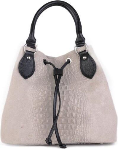 TALIANSKE Talianska kožená kabelka cez plece sivobiela Bella - Glami.sk 8770269f469