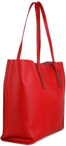 TALIANSKE Kožená kabelka shopperka Talianska červená Ada - Glami.sk 598b8393e90
