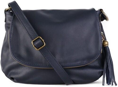 -7% TALIANSKE Talianska stredná dámska kožená kabelka crossbody modrá  Angela 91fa51a2dcf