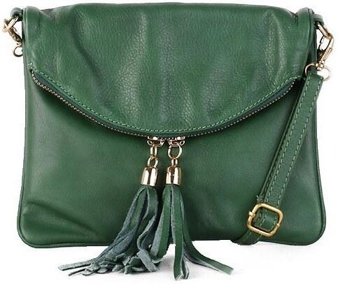 ad20f79d6b TALIANSKE Malá kožená listová kabelka Talianska zelená Korzika