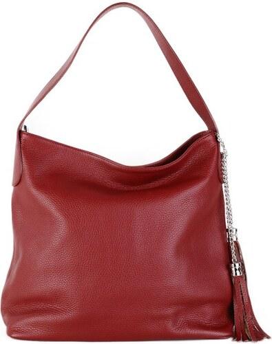 32586f3727 TALIANSKE Talianska bordová kožená kabelka cez rameno Fabiola - Glami.sk