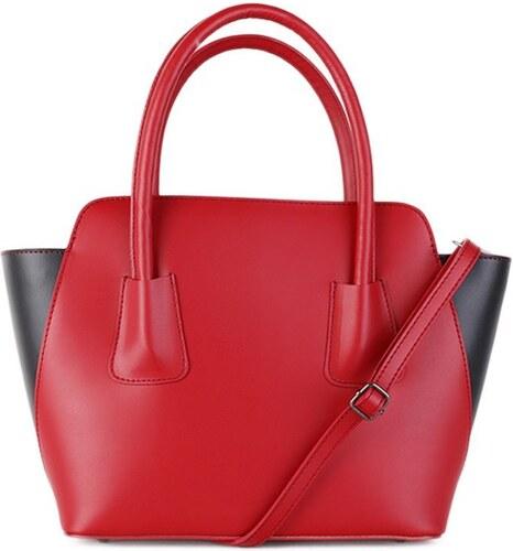 Talianska kožené kabelky cez plece červená s čiernou Klaudia - Glami.sk 9eaeb188f8e
