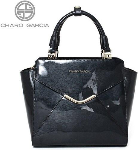 Čierna kožená luxusná kabelka lakovaná cez plece Charo Garcia 8836 ... 0ed5d942b6f