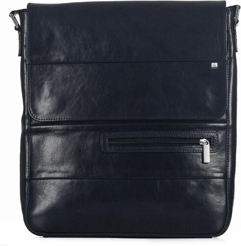 ed13cbab7e WOJEWODZIC Pánska kožená kabelka cez plece Wojevodzic modrá 31525 AF14