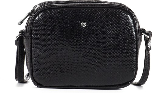 -15% Kožená kabelka malá listová lakovaná Wojewodzic čierna 3GD28 PC01 297b464f3f4