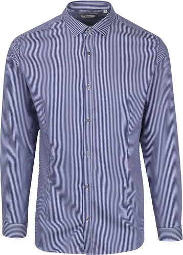 Tmavě modrá formální pruhovaná super slim fit košile Jack   Jones Premium  Parma 8a5cd9e173