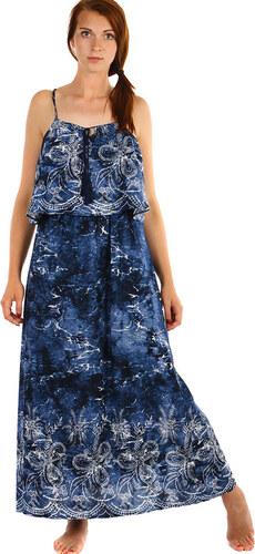 YooY Dlouhé batikované letní maxi šaty (tmavě modrá 568e852c10e