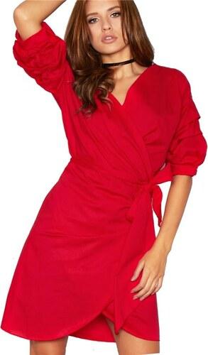 MISSY EMPIRE Červené zavinovací šaty Lana s puff rukávy - Glami.cz 0169d7c4c25