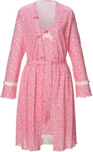 82ec8d609d1d Župan a nočná košeľa Simone ružové drevo lososová ecru - Glami.sk