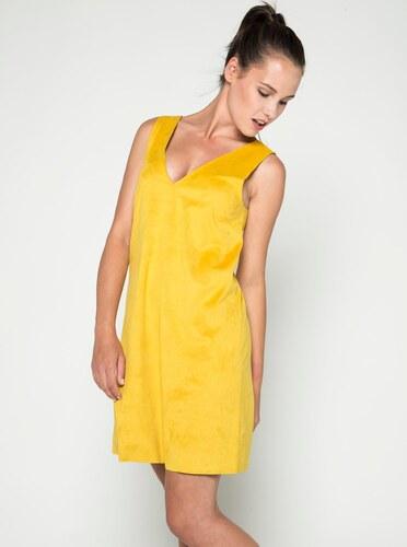Žluté volné šaty v semišové úpravě VILA Then - Glami.cz 58853e9d57