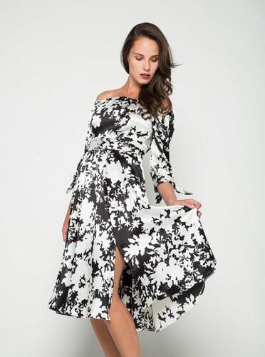 Čierno-krémové šaty s odhalenými ramenami Closet - Glami.sk 4fb2abd1ee4