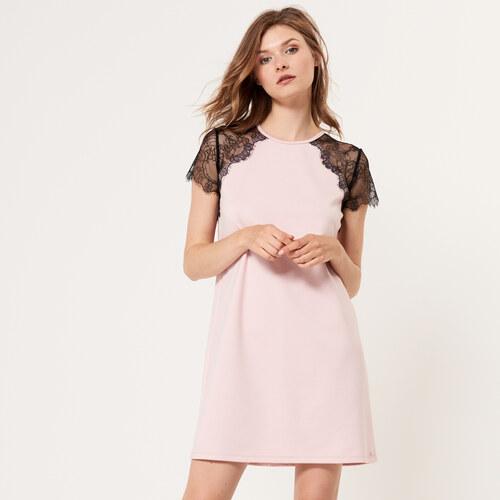 Mohito - Šaty s krajkovým rukávem - Růžová - Glami.cz eaee43859d5