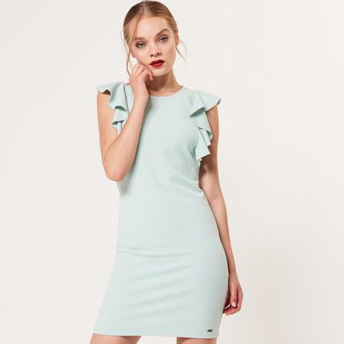 Mohito - Šaty matové barvy s volánem na rukávu - Modrá - Glami.cz 0908c212d6c