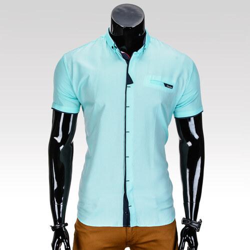Ombre Clothing Pánská košile s krátkým rukávem Beckett tyrkysová ... e882525433
