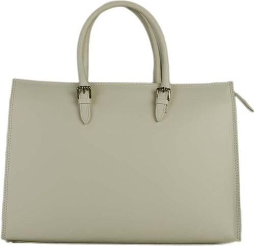 9856fcde46 -10% TALIANSKE Veľká kožená kabelka Vera pelle do ruky z Talianska  smotanová Calvina