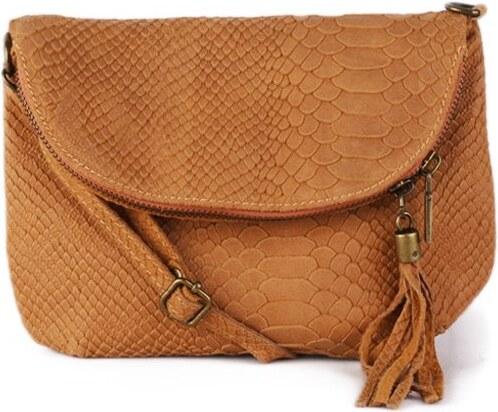 TALIANSKE Kožená kabelka športová Borsa di pellle Talianska camel Savina 5773faa138b