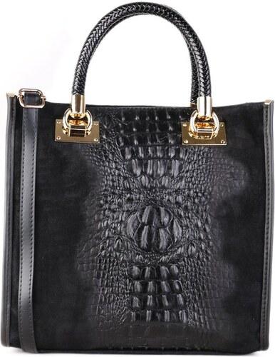 TALIANSKE Kožená kabelka do ruky Talianska čierna Regina 4d0b3946eb8