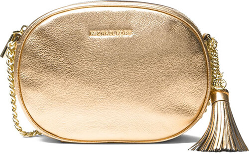 Michael Kors kožená kabelka Ginny medium messenger pale gold - Glami.cz 9359d3bcd3f