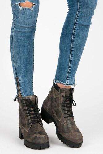 531340666 Vinceza Zelené šnurovacie topánky workery s protektorom - Glami.sk