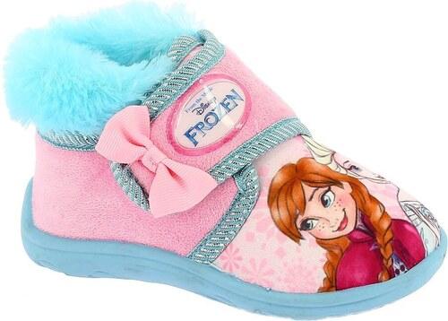 0dc94ea8bd70 Disney by Arnetta Dívčí bačkůrky s kožíškem Frozen - růžovo-tyrkysové
