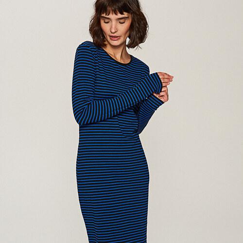 084aa39f65eb Reserved - Priliehavé pásikavé šaty - Modrá - Glami.sk