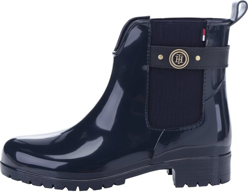 077605590ce Tmavě modré dámské gumové chelsea boty s detaily ve zlaté barvě Tommy  Hilfiger Oxley