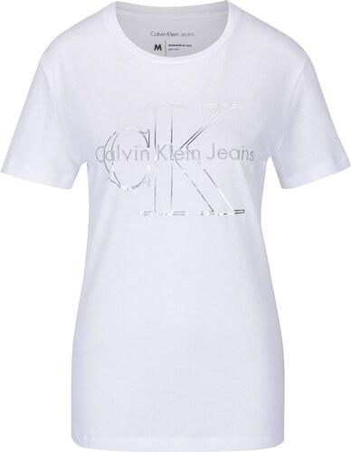 Bílé dámské tričko s potiskem Calvin Klein Jeans Tanya - Glami.cz 40fd0eb611