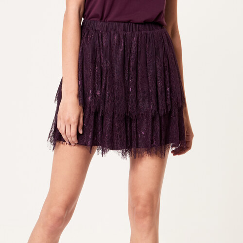 31e0e22858b8 Mohito - Krátka čipkovaná sukňa s volánom - Hnědá - Glami.sk